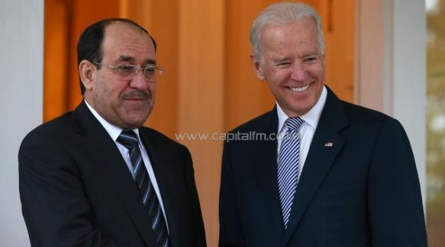 Vice President Joseph Biden (R) welcomes Iraqi Prime Minister Nuri al-Maliki to the Naval Observatory, October 30, 2013 in Washington/AFP