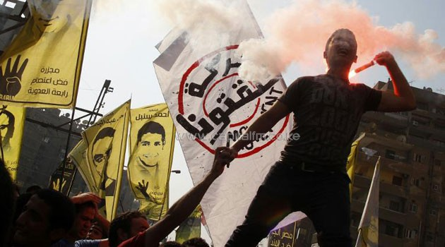 Supporters of Egyptian ousted president Mohamed Morsi demonstrate against the military in Cairo's eastern Nasr City district on Oct 11, 2013/AFP