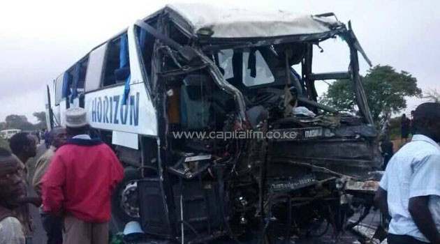 The driver of this bus died on the spot. Photo/ KENYA RED CROSS