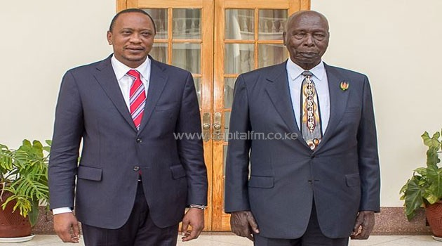 President Uhuru Kenyatta with Kenya's second President Daniel arap Moi. Photo/PSCU