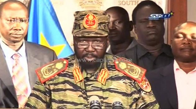 An image grab taken from South Sudan TV and uploaded to YouTube on December 16, 2013 shows South Sudan's President Salva Kiir addressing the nation in Juba to denounce an attempted coup  © South Sudan TV via YouTube/AFP