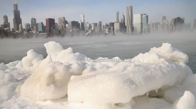 Ice builds up along Lake Michigan as temperatures dipped well below zero in Chicago, Illinois @AFP
