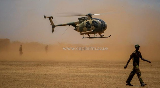A KDF helicopter patrols inside Somalia where Kenyan troops are involved in peace keeping. Photo/AMISOM