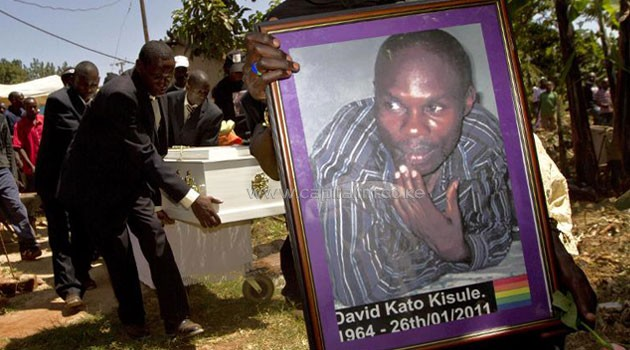 "In 2011, prominent Ugandan gay rights campaigner David Kato was bludgeoned to death at his home after a different newspaper splashed photos, names and addresses of gays in Uganda on its front page along with a yellow banner reading ""Hang Them""/AFP"