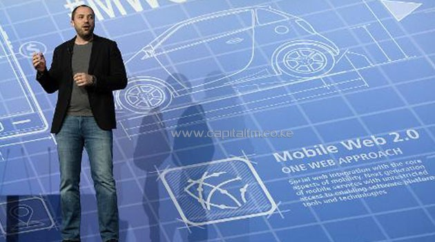 Co-founder and CEO of Whatsapp Jan Koum gives a presentation during the 2014 Mobile World Congress in Barcelona on February 24, 2014/AFP