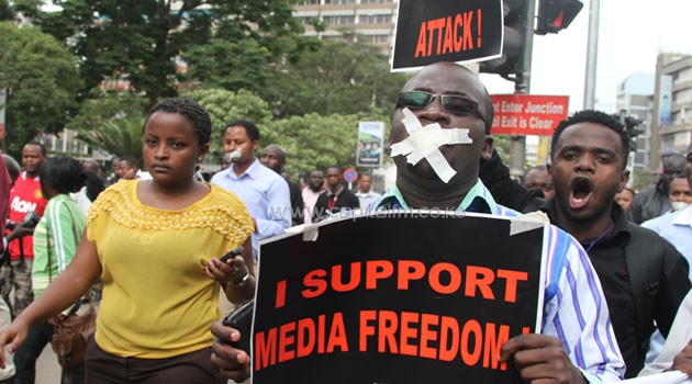 Journalists at a past demonstration on Nairobi streets to protest new regulations. Photo/FILE