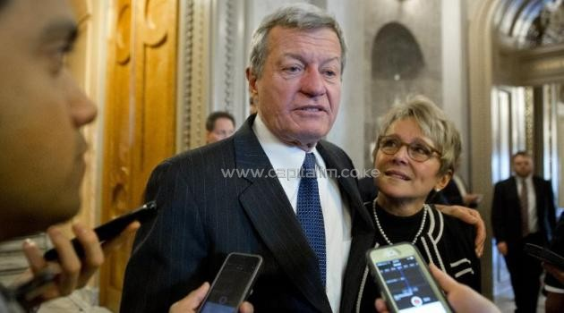 Max Baucus, US Ambassador to China, speaks to reports at the US Capitol in Washington, DC on February 6, 2014/AFP