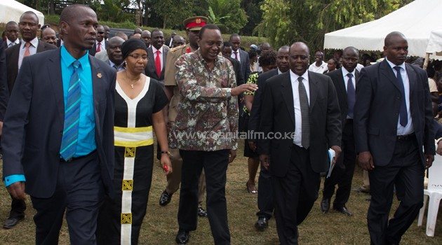 The pilot's burial was attended by President Kenyatta and his Deputy Ruto. Photo/PSCU.