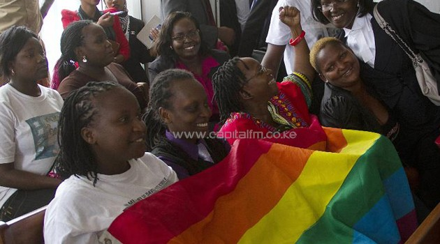 Members of Uganda's gay community and gay rights activists/AFP