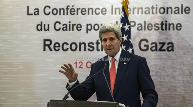 US Secretary of State John Kerry gives a press conference as part of the Gaza Donor Conference in Cairo on October 12, 2014 © AFP