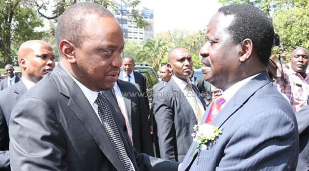 President Uhuru Kenyatta and CORD co-principal Kalonzo Musyoka spoke in one tone reiterating the importance of dialogue in resolving differences. Photo/ PMPS