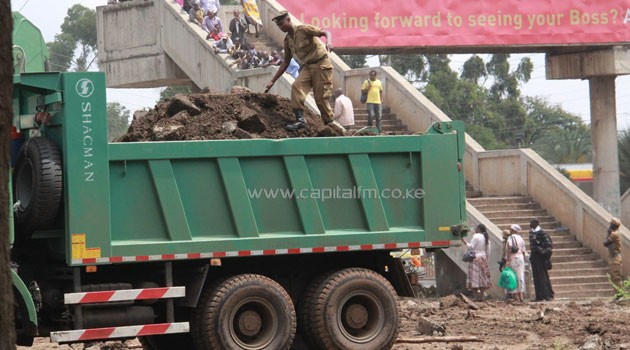 The NYS was deployed on Wednesday to pull down a wall at Langata Road Primary School. Photo/CAPITAL FM
