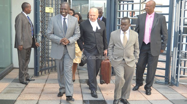 DP Ruto, his lawyer Karim Khan and Joshua arap Sang leave the court. Photo/ FILE