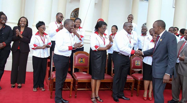 Briefing President Uhuru Kenyatta on the award at State House, Nairobi, Devolution Cabinet Secretary Anne Waiguru said the Huduma Kenya Programme was recognised for its outstanding achievements in serving the public interest/FILE