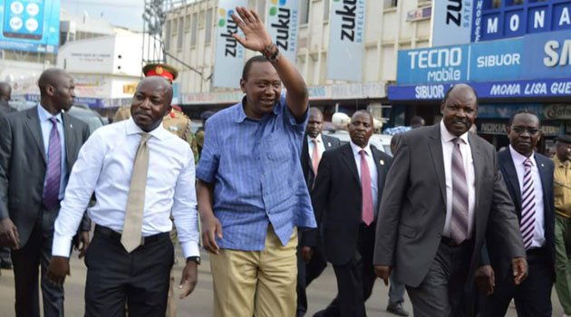 President Kenyatta arrived in Kisumu to a heroic welcome and was driven straight to Kisumu State Lodge where he performed a state function during the National Music Festival gala/FILE