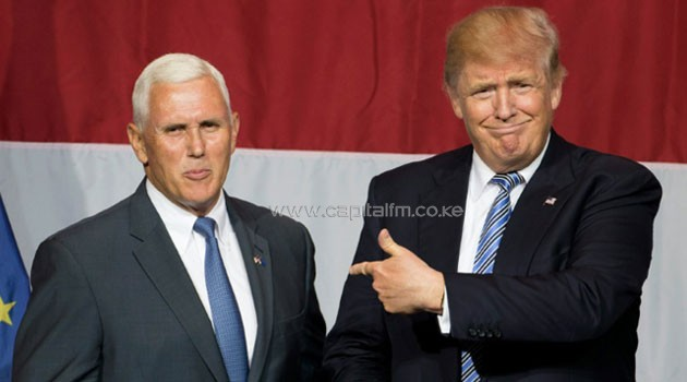 US Republican presidential candidate Donald Trump (right) and Indiana Governor Mike Pence attend a campaign rally in Westfield, on July 12, 2016/AFP