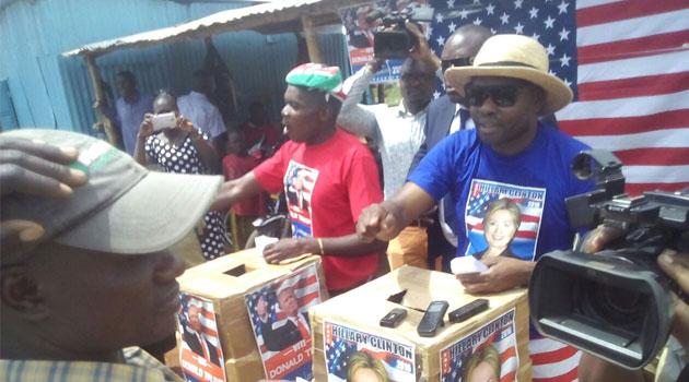 Kogelo residents take part in a mock US Presidential election/CFM