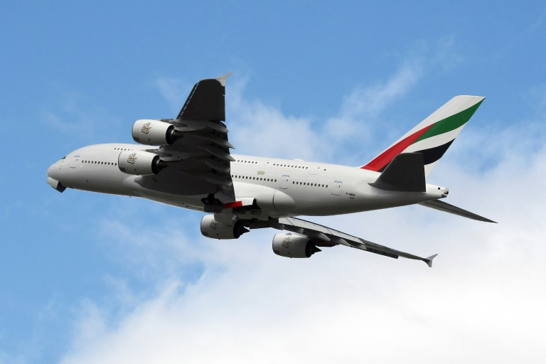 An Emirates Airbus A380 takes off from Toulouse Blagnac airport