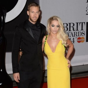 "Calvin Harris and Rita Ora attend the""Brit Awards"" at O2 Arena."