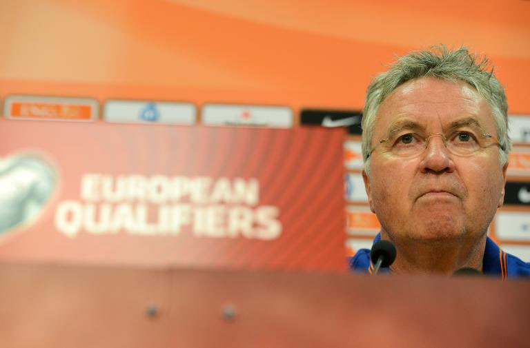 Guus Hiddink speaks at a press conference when he was Dutch boss. PHOTO/File