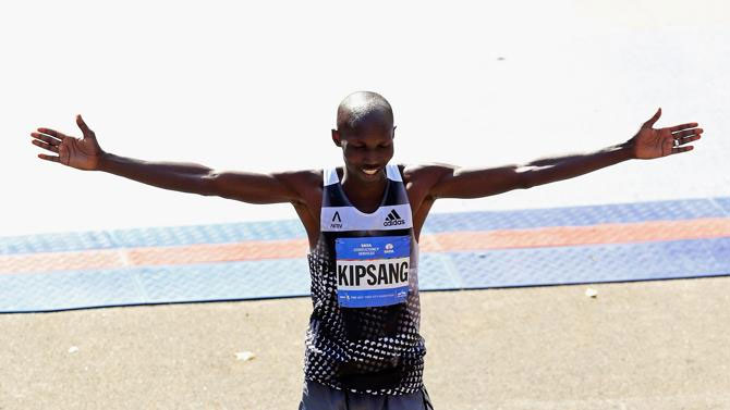Wilson Kipsang after winning last year's New York Marathon. He is among stars taking part in the 836km march for peace. PHOTO/File
