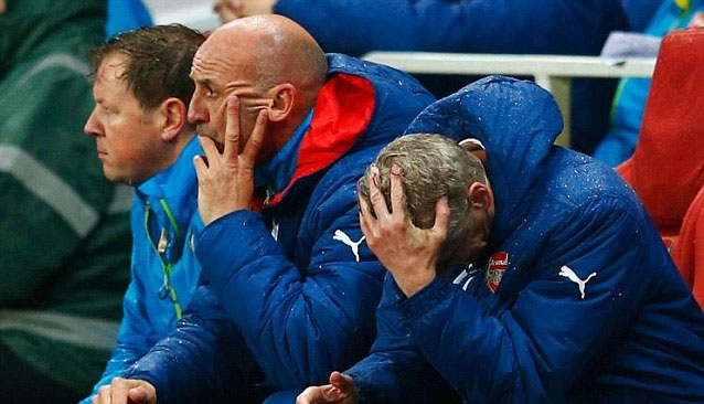 Arsene Wenger reacts after his Arsenal team concede a goal in a past match. PHOTO/File