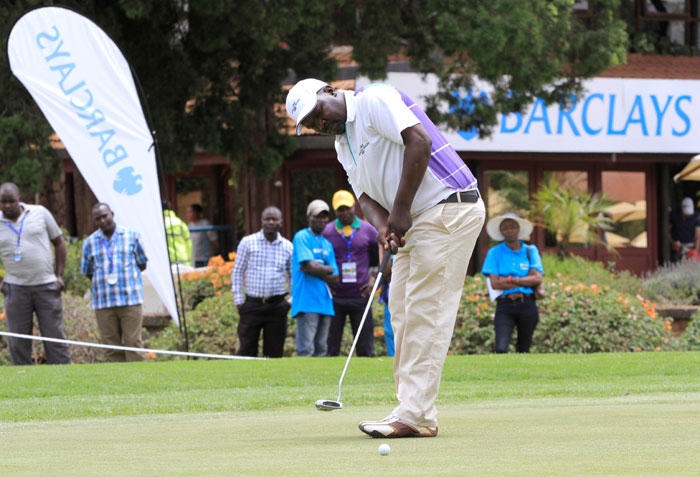 Dismas Indiza in action at Kenya Open. He is trailing leader Riz Charania by a single stroke in the Nyanza leg of the KCB Pro-Am Tour after Day 1.