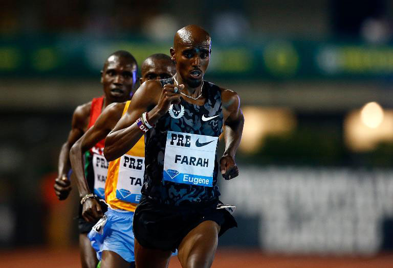 Mo Farah of Great Britain leads the pack during the 10,000m event, on day one of the IAAF Diamond League Prefontaine Classic, at Hayward Field in Eugene, Oregon.