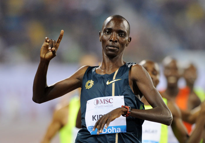 World 1500m champion Asbel Kiprop in a previous IAAF Diamond League meeting. He will launch his 2015 campaign in Doha on Friday