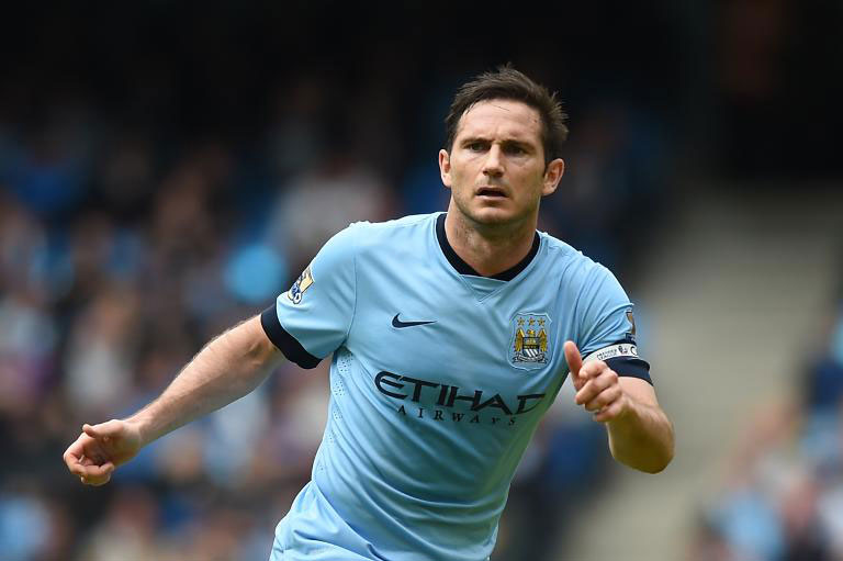 Manchester City's midfielder Frank Lampard plays during the football match between against Southampton at the Etihad Stadium in Manchester on Sunday.
