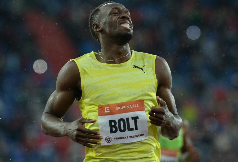 Jamaica sprinter Usain Bolt competes to win the men's 200m race at the IAAF World challenge Zlata Tretra in Ostrava on May 26, 2015.