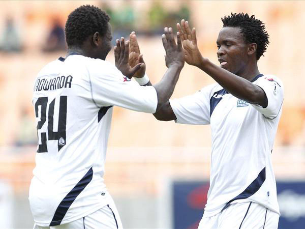 Enock Agwanda and George Odhiambo (right) celebrate Gor Mahia's opener against Djibouti Telcom in a pre-season tie. PHOTO/File