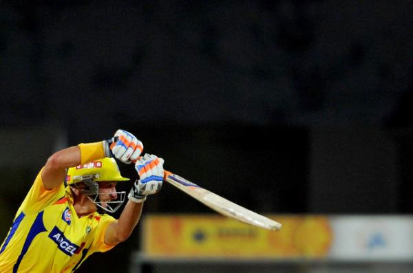 Chennai Super Kings batsman Michael Hussey plays a shot during the IPL Twenty20 cricket 2nd Qualifying match between Chennai Super Kings and Delhi Daredevils at the M.A. Chidambaram Stadium in Chennai on May 25, 2012. PHOTO/AFP