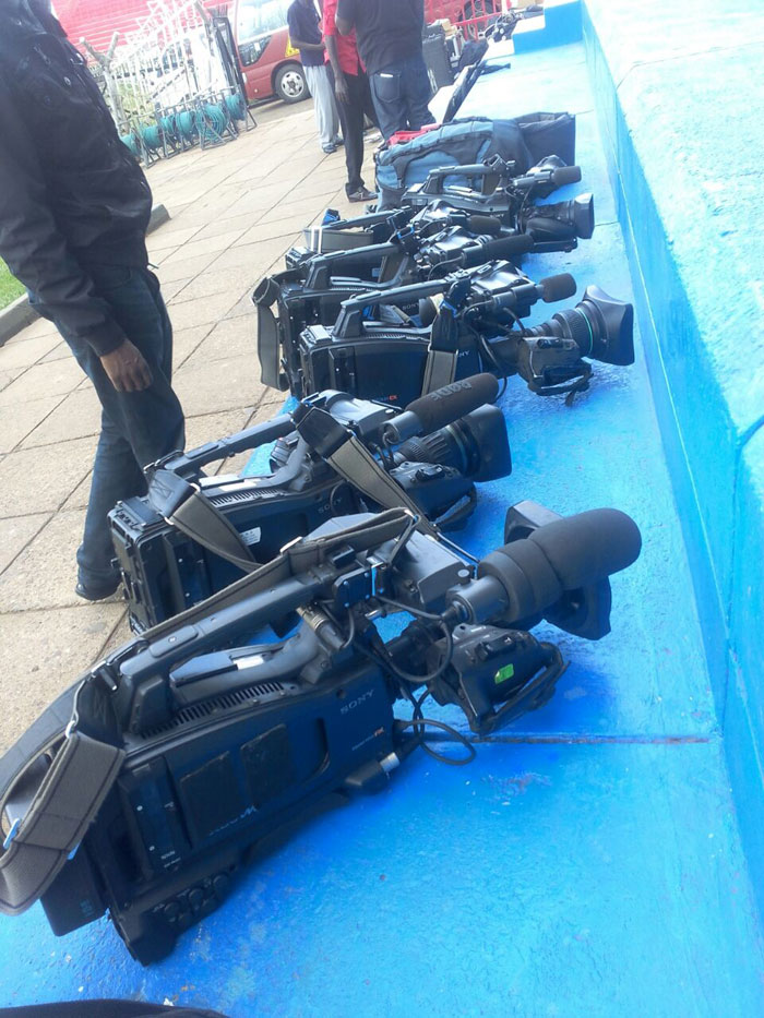 Cameras belonging to Vivid Features who are meant to shoot the game on behalf of Star Times being set up at Nyayo. PHOTO/Courtesy