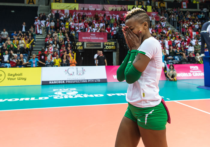 Veteran setter, Janet Wanja, moments after Malkia Strikers beat Peru in the World Grand Prix Group 3 final on Sunday. PHOTO/Courtesy