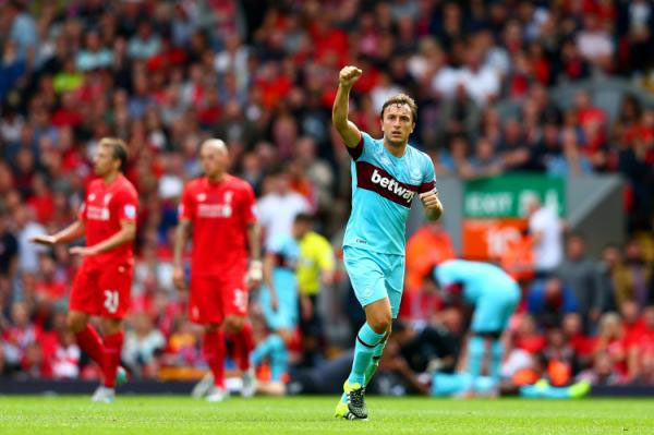 Mark Noble celebrates his goal at Anfield as West Ham hammered Liverpool 3-0 on August 29, 2015. PHOTO/Yahoo! Getty Images