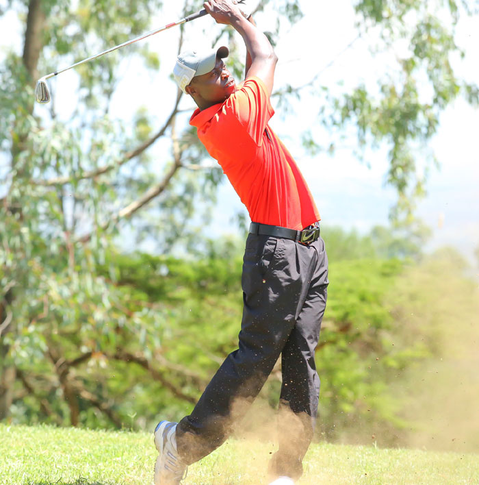 Joint leader David Wakhu tees off on Day 2 of KCB Pro-Am in Nakuru. PHOTO/Courtesy