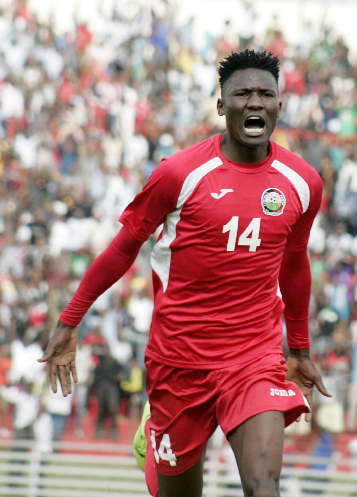 Harambee Stars striker, Michael Olunga, celebrates his goal against Cape Verde in the 2018 World Cup qualifiers at Nyayo Stadium. He was on target as Stars were held 1-1 by Burundi. PHOTO/File