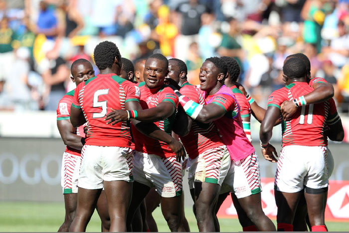 Jubilant Kenya 7s players celebrate after upsetting South Africa's Blitzbokke 14-12 in their Pool B crash of Cape Town Sevens on December 12, 2015. PHOTO/AFP