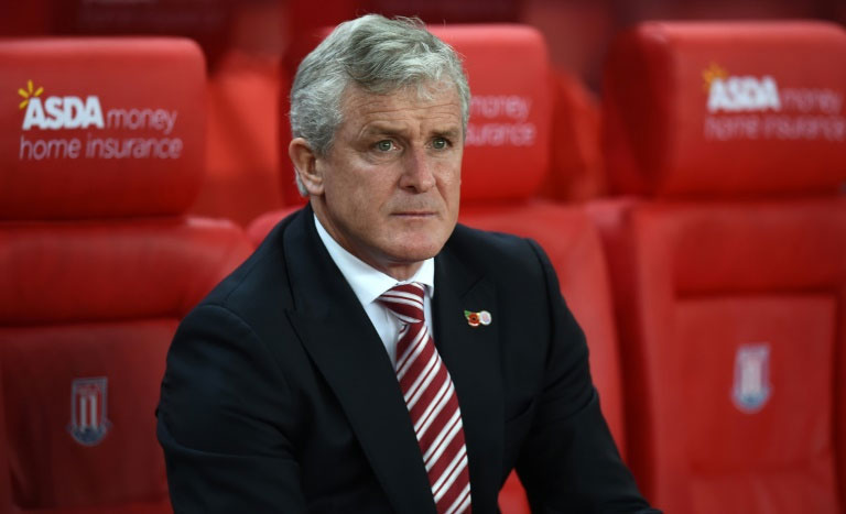 Stoke City's manager Mark Hughes, pictured on November 7, 2015, who won the Premier League twice and the FA Cup three times in his two spells at Manchester United, suggested there is no guarantee the team will recapture their former glories soon. PHOTO/AFP