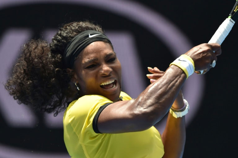 Serena Williams during her Australian Open match against Maria Sharapova in Melbourne on January 26, 2016. PHOTO/AFP