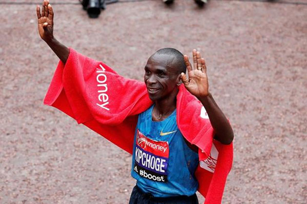 Eliud Kipchoge after winning the 2015 London Marathon (Getty Images) © Copyrig