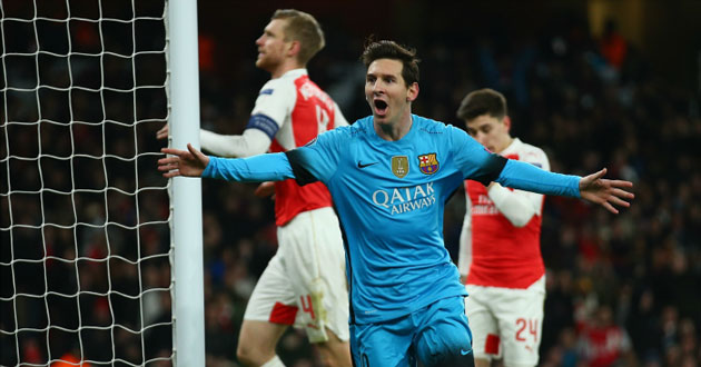 Lionel Messi celebrates after scoring the second goal against Arsenal.PHOTO/courtesy