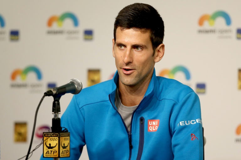 Novak Djokovic of Serbia fields questions from the media during the Miami Open on March 23, 2016 in Key Biscayne, Florida. PHOTO/AFP.