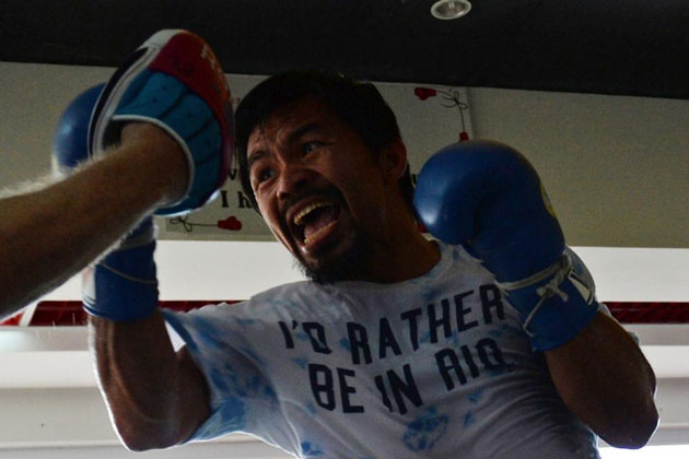 Manny Pacquiao is training in the southern Philipppine island of Mindanao, ahead of his April fight against Timothy Bradley in Las Vegas (AFP Photo/Ted Aljibe)