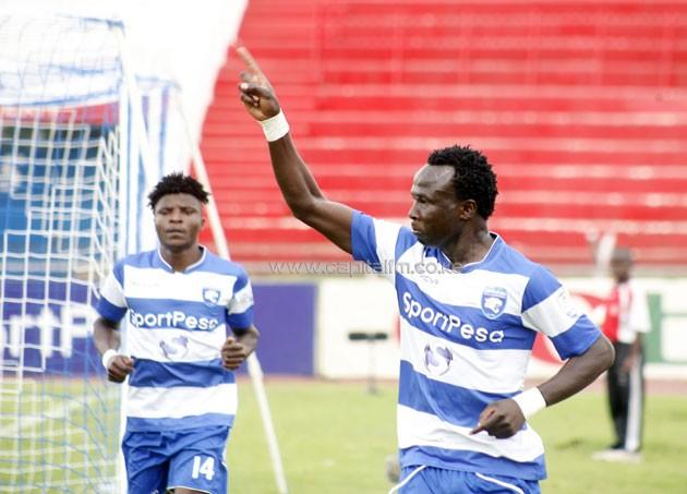 AFC Leopards forward Kepha Aswani celebrating after scoring against Sofapaka.PHOTO/Raymond Makhaya