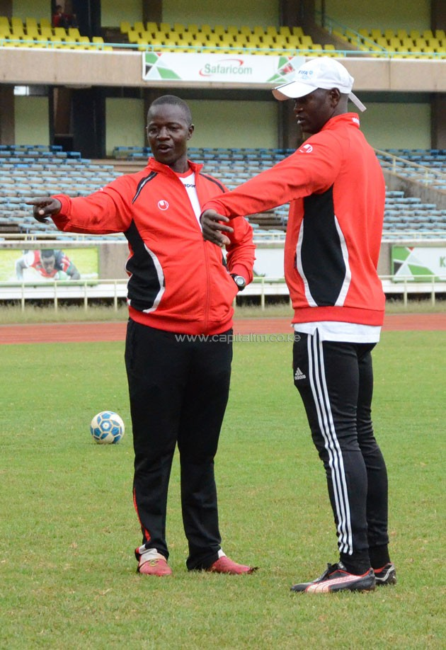 Harambee Starlets head coach David Ouma taking through his charges in training at Kasarani Stadium ahead of the Women's Africa Cup of Nations tie against Algeria.PHOTO/Timothy Olobulu