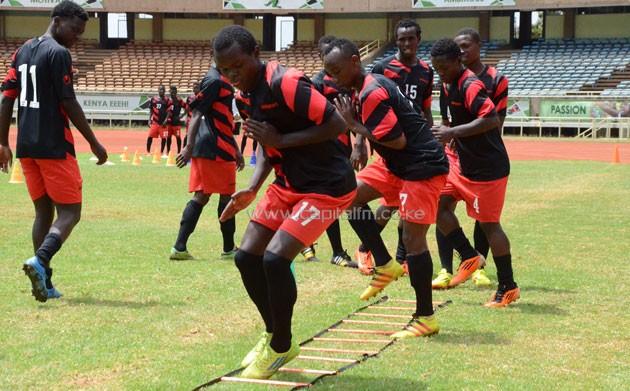 Harambee Stars U-20 skipper Amos Nondi leads the squad's last training at Kasarani Stadium before departing for Sudan.PHOTO/Timothy Olobulu