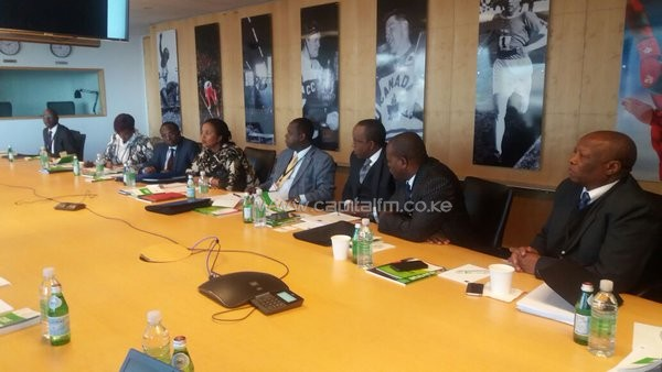 Kenyan delegation led by Ambassador Amina Mohamed in Montreal, Canada after meeting with the World Anti Doping Agency officials.PHOTO/courtesy