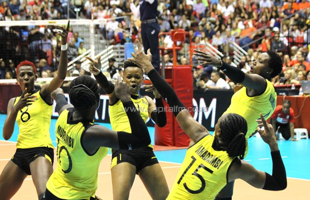 Malkia strikers players celebrate after winning a point against Puerto Rico-PHOTO/Dennis Machio- KVF